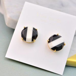 Kate Spade Black And White Striped Earrings